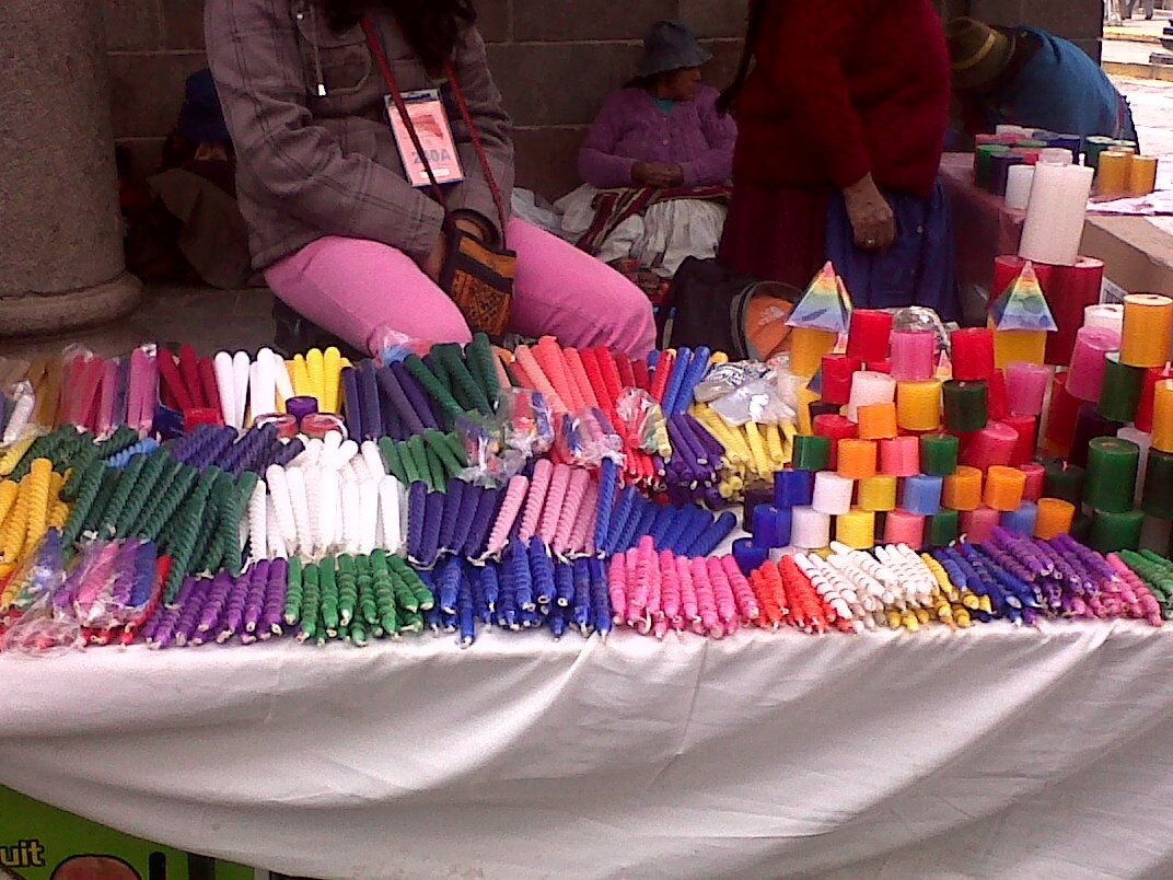 Christmas candles at the Santuranticuy craft market in Cuzco