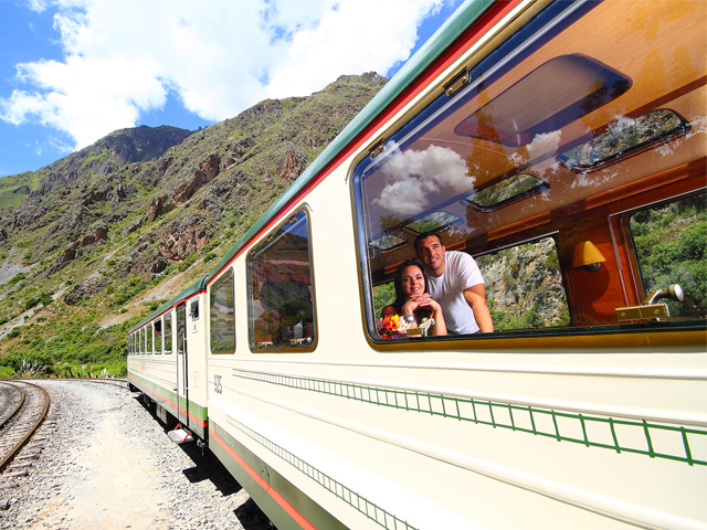 Events in Peru On the way to Machu Picchu in a luxurious private train carriage about the Inca Pricess, enjoying a gourmet meal, champagne and first class service
