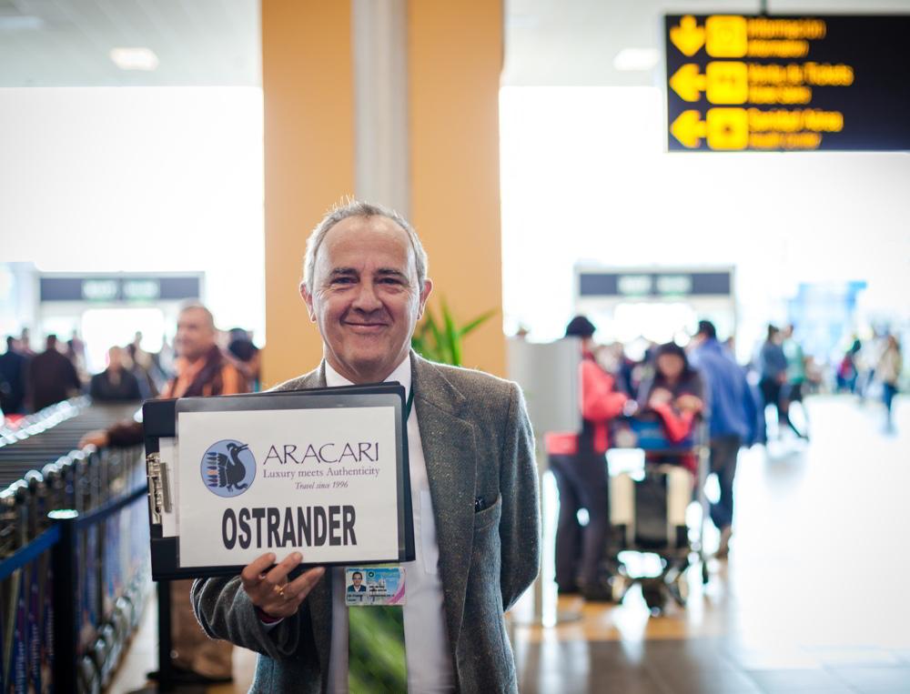 Raul waiting at the airport - Aracari customer service