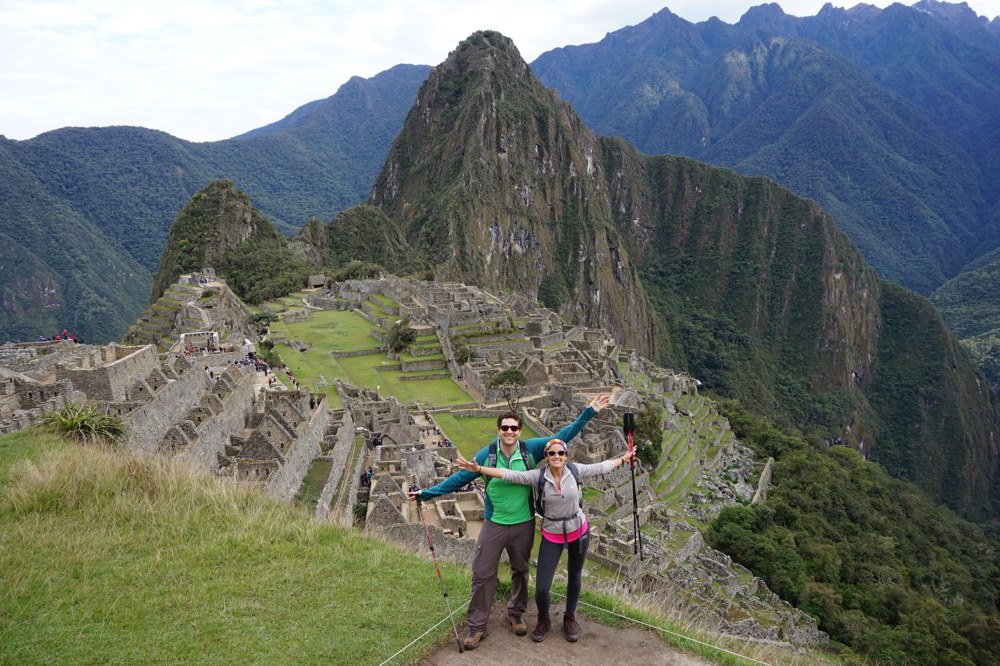 Inca Trail in Peru - arrival at Machu Picchu