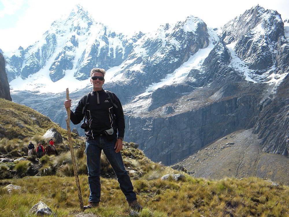 A hiker in the Cordillera Blanca