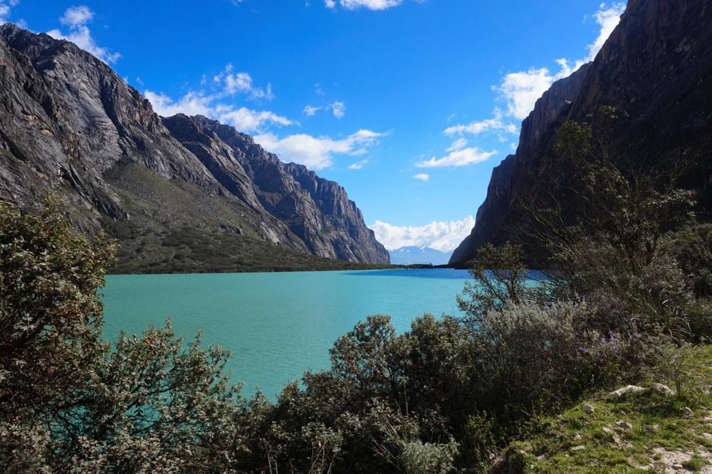 View of Llanganuco Lake in the Cordillera Blanca