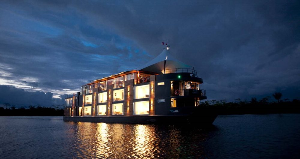 Aria Amazon cruise - vessel at night