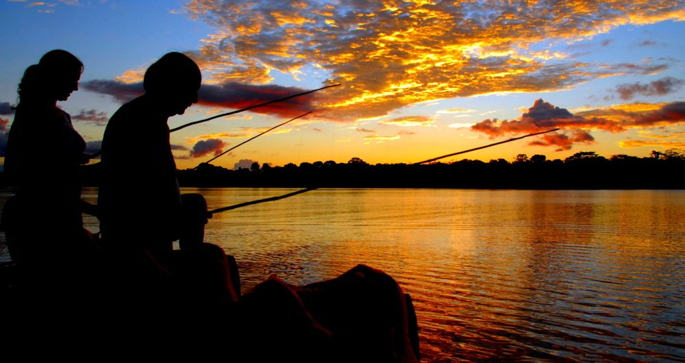 Peru family travel - fishing in the Amazon