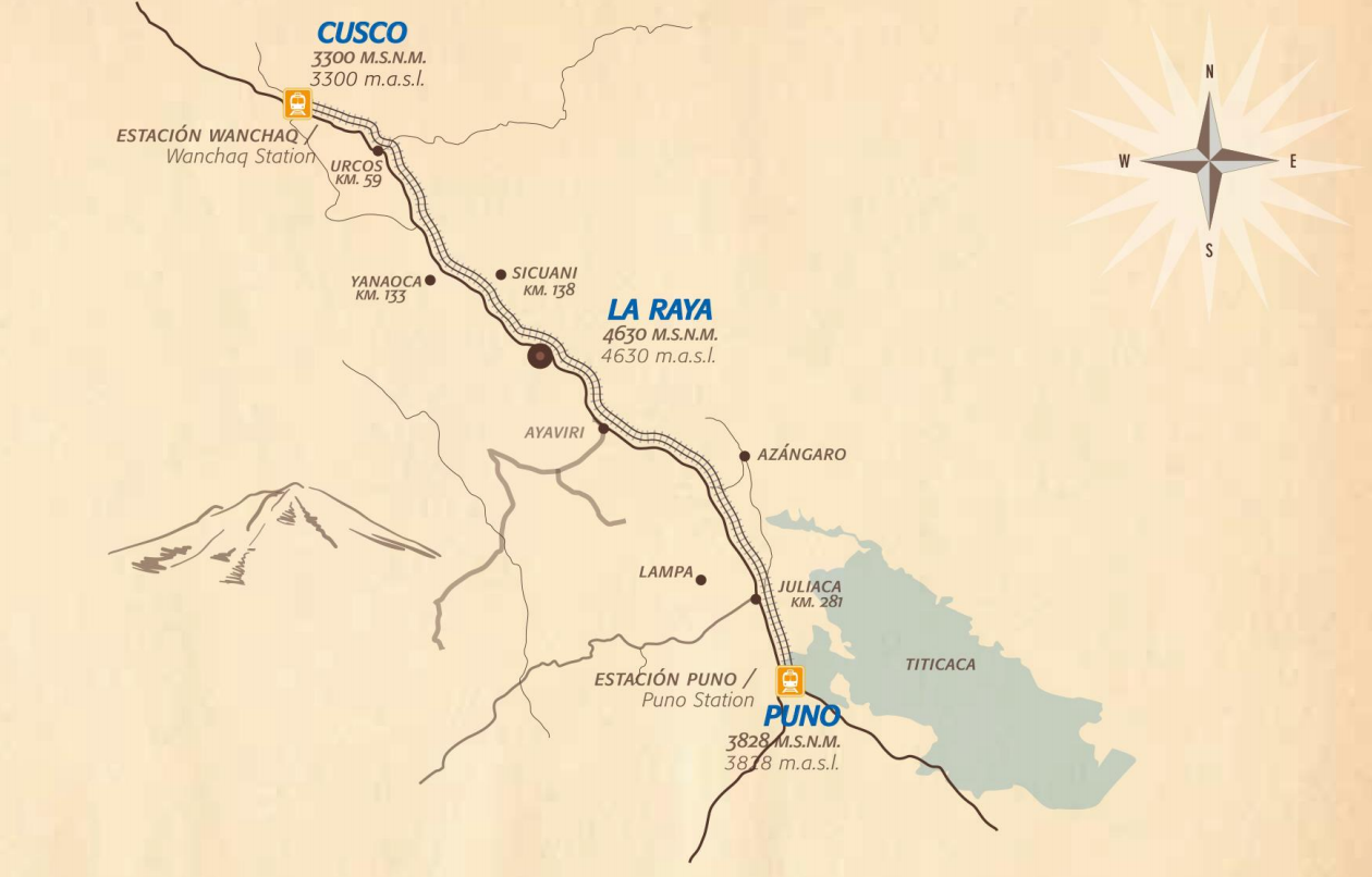 peru rail titicaca train map
