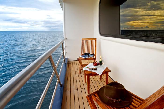 Private balcony aboard Ocean spray for a luxury galapagos honeymoon