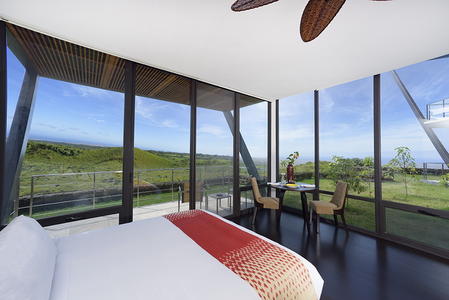 Incredible views from your bedroom at Pikaia Lodge, the perfect setting for a luxury galapagos honeymoon