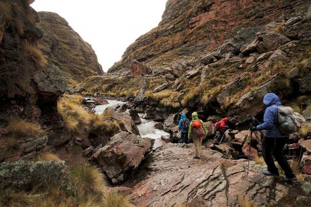 Traversing the valley on the Rainbow Mountain Peru trek