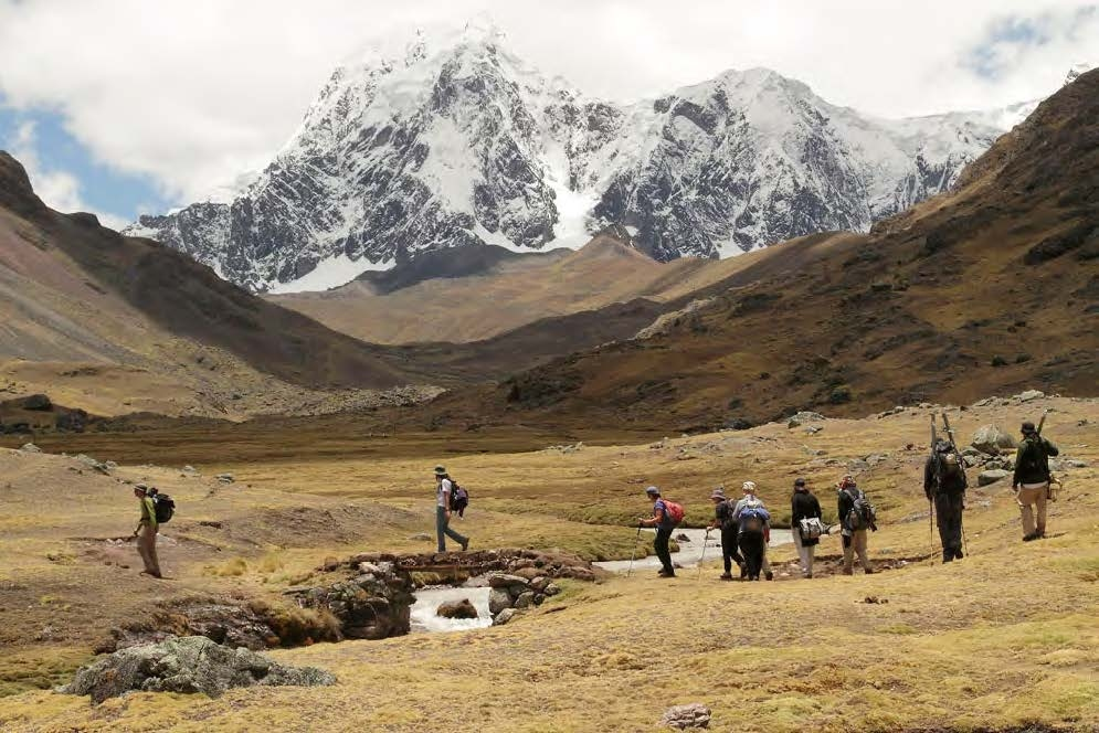 A beautiful mountain view trekking to Rainbow Mountain Peru