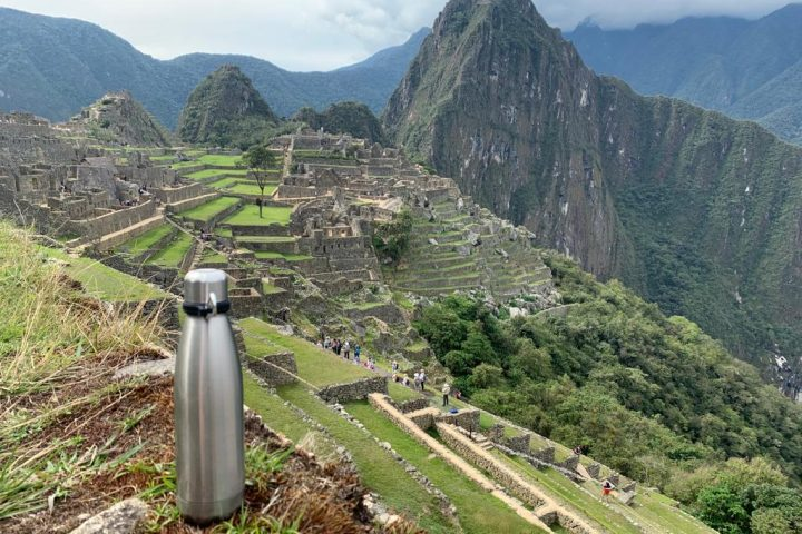 Aracari fluye water bottles in Machu Picchu